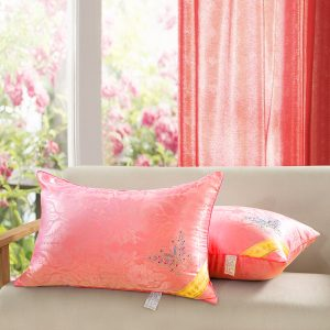 cojines y cortina living coral