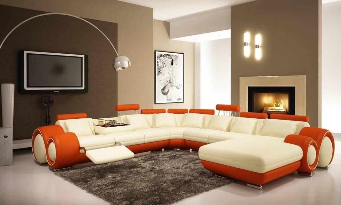 sala lounge crema y naranja