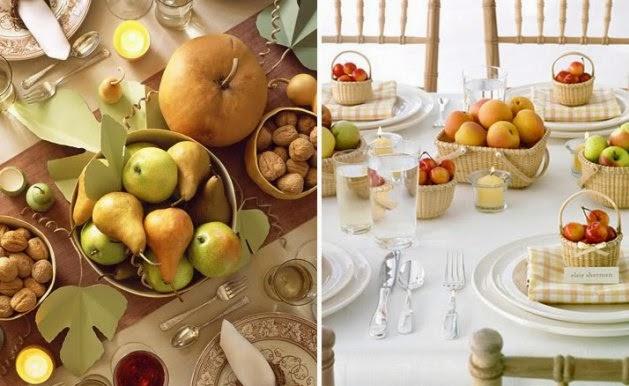 decoración mesa restaurante frutas