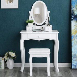 tocador tipo mesa con espejo giratorio